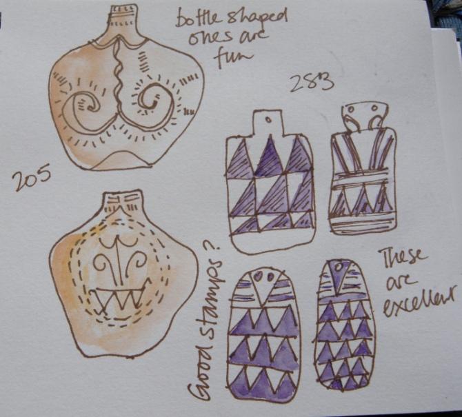 Sketches of goddess figures from Marija Gimbutas's book