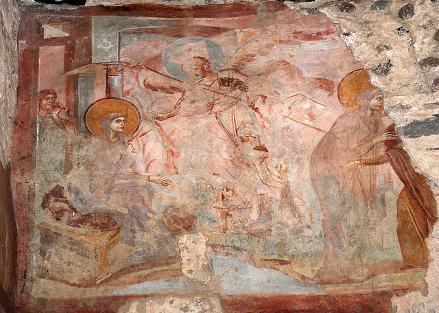 Annunciazione e Visitazione-l'Angelo appare a Maria che ha in mano due fusi, Elisabetta incontra Maria