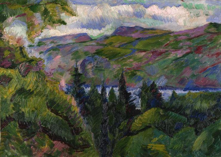 boccioni-paesaggio di montagna e lago