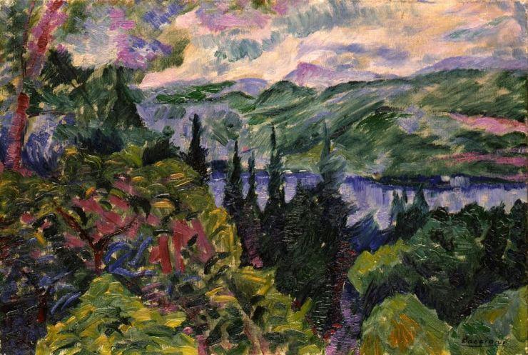 paesaggio con montagne e lago-boccioni