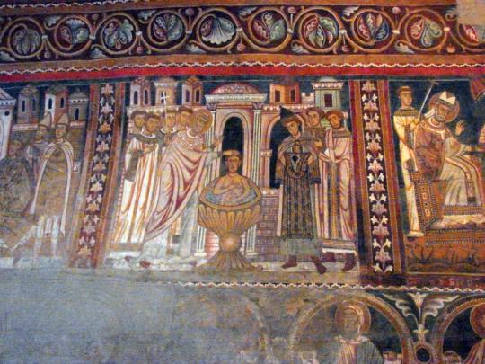 scena oratorio san silvestro. costantino riceve il battesimo da Silvestro