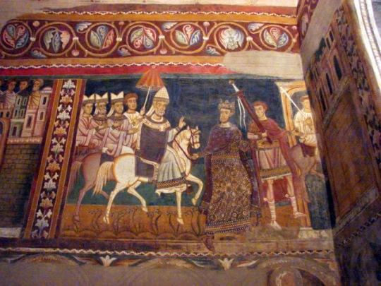 Silvestro a cavallo, in corteo, è accompagnato da Costantino