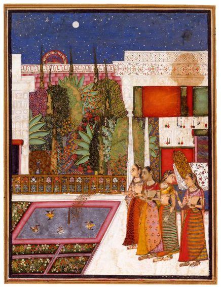 Four women in a palace garden- miniatura-India ,Bundi-XVIIIsec