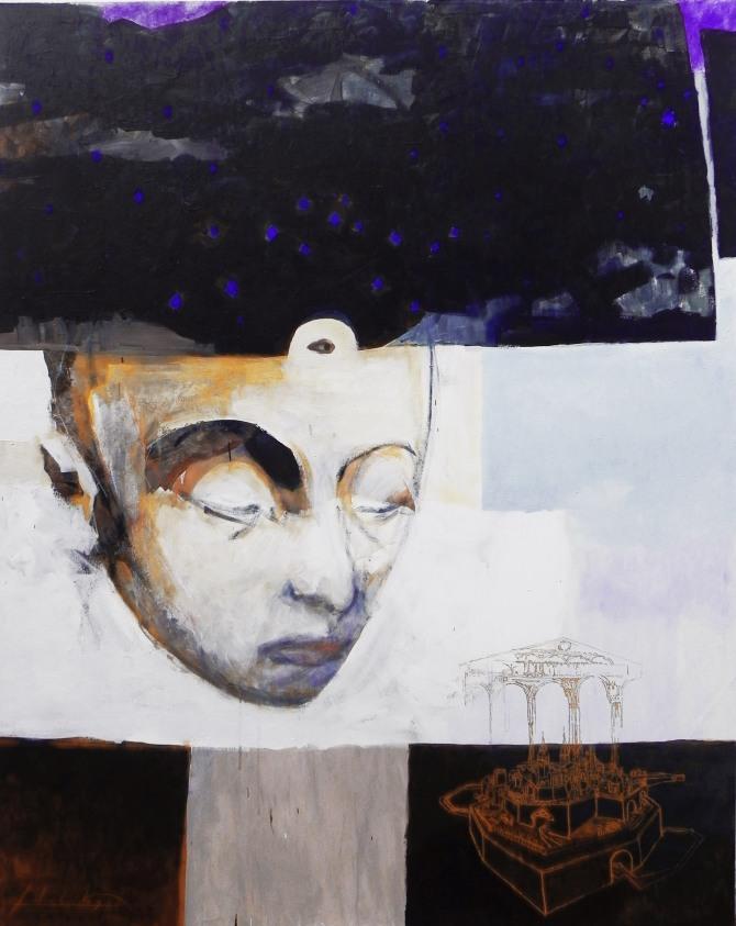 ariel de la vega El Templo Interior- Contemplando en secreto-Pintura de oro. Pigmento y medium sobre lienzo-
