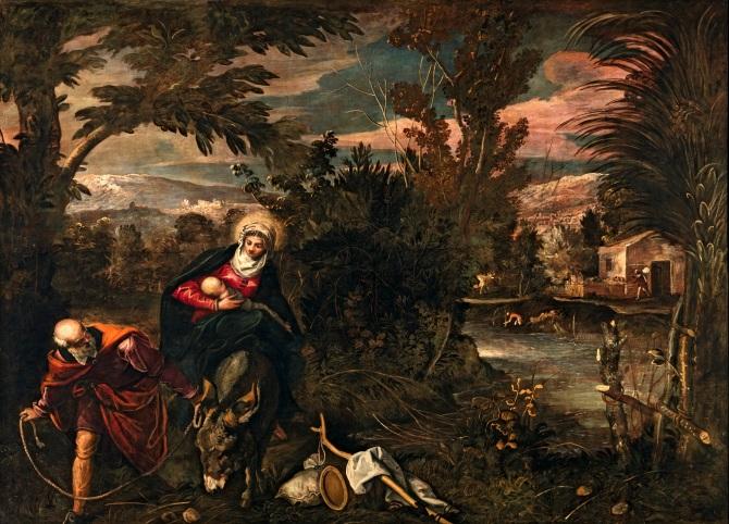 Tintoretto, Fuga in Egitto, sala terrena, Scuola di San Rocco, V