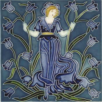 Blue-bell tile from Flora's Train by Walter Crane (1845-1915)