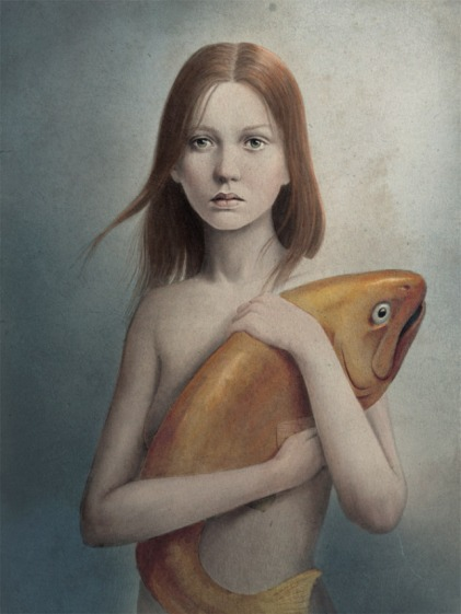 woman fish portrait picture