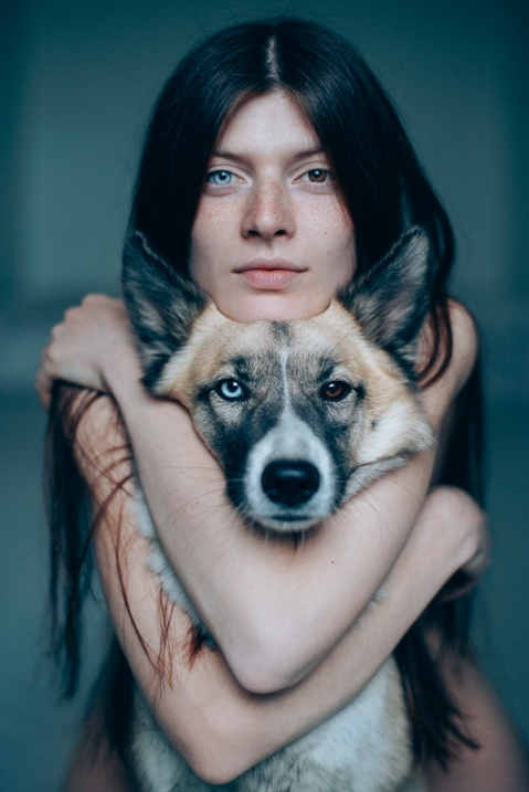 sergei sarakhanov-Me and my dog Pandora, adopted from the street