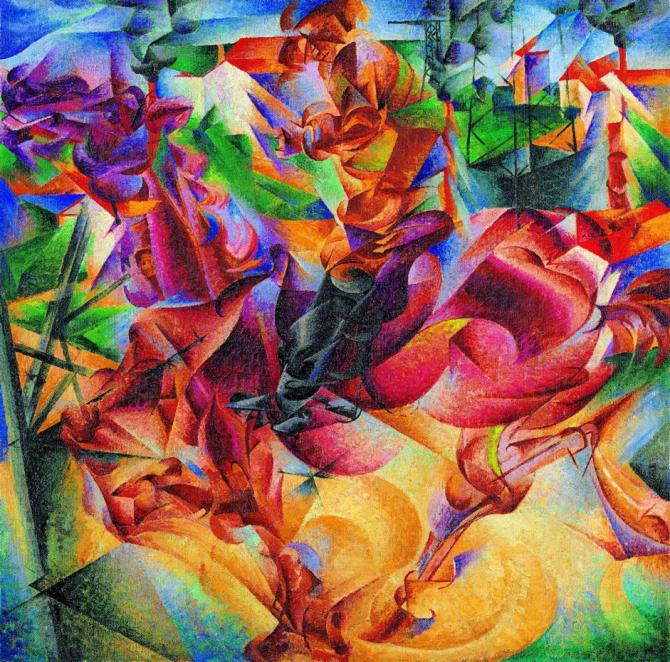 Umberto Boccioni. Elasticity (Elasticità), 1912 Oil on canvas, 100 x 100 cm Museo del Novecento, Milan © Museo del Novecento, Comune di Milano (all legal rights reserved). L'opera e' tra quelle esposte nella mostra sul Futurismo ospitata dal Guggenheim di New York, dal 21 febbraio al primo settembre 2014. ANSA/ US/ Photo: Luca Carrà +++ NO SALES - EDITORIAL USE ONLY +++