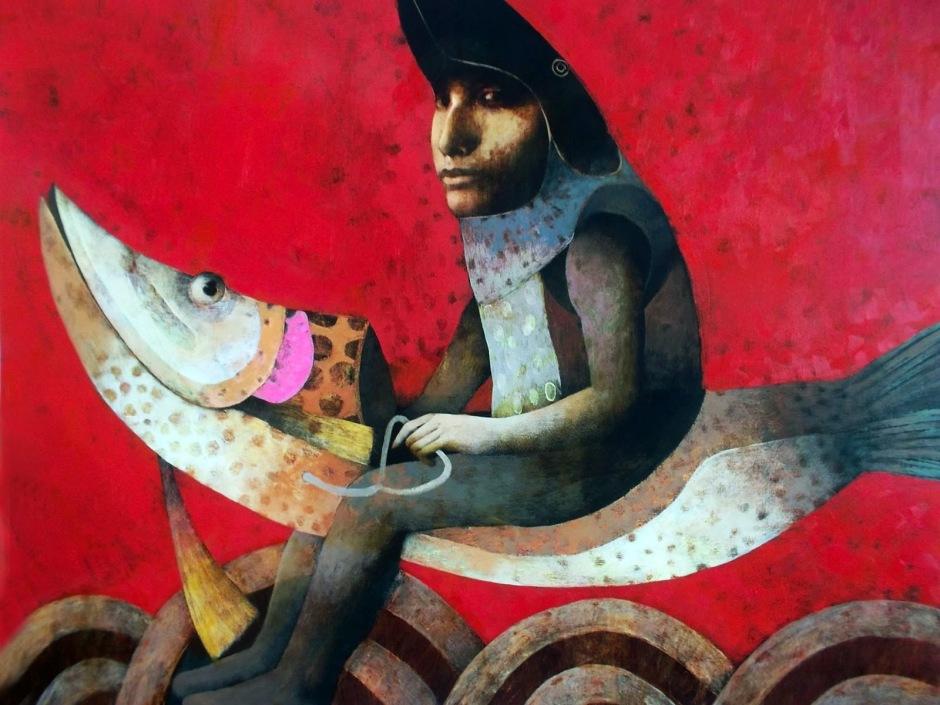 joselito sabogal Paseante en Pez mágico 1 m. x 82cm.