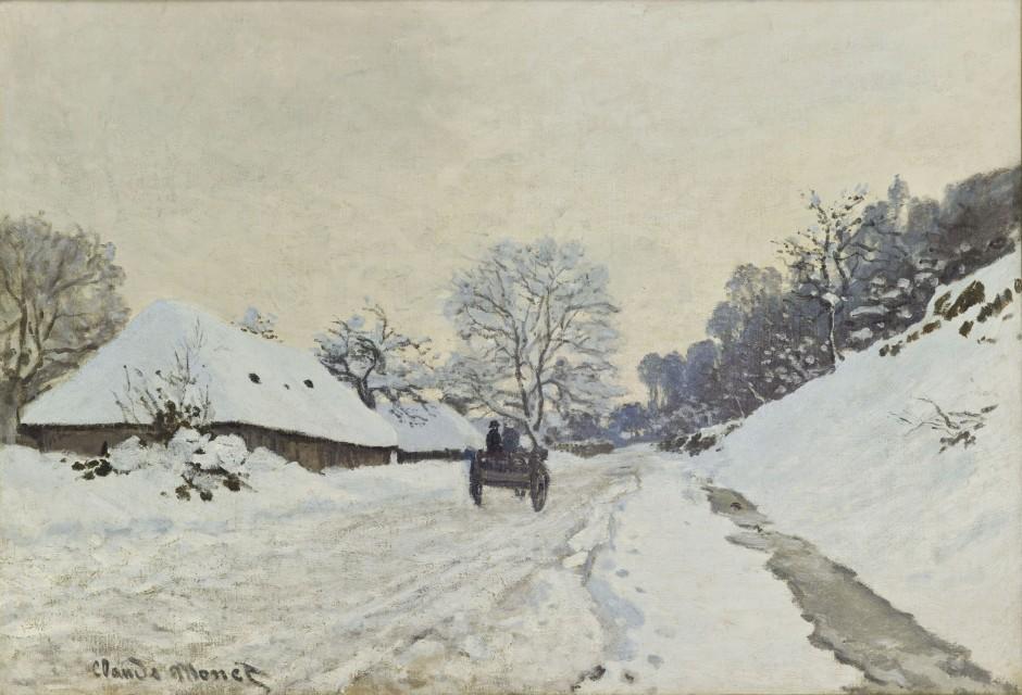 MONET-Il-calesse.-Strada-sotto-la-neve-a-Honfleur-1867-ca
