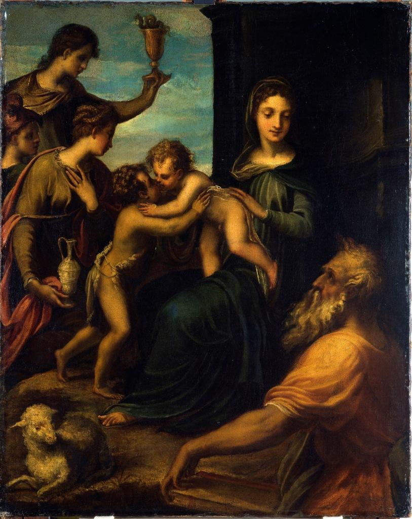 Sacra Conversazione-Dresda -Schiavone, Andrea (c. 1520-1563): Heilige Familie �. Dresden, Gemaeldegalerie Alte Meister, Staatliche Kunstsammlungen*** Permission for usage must be provided in writing from Scala.