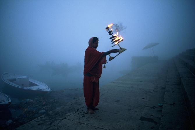 a foggy morning in varanasi