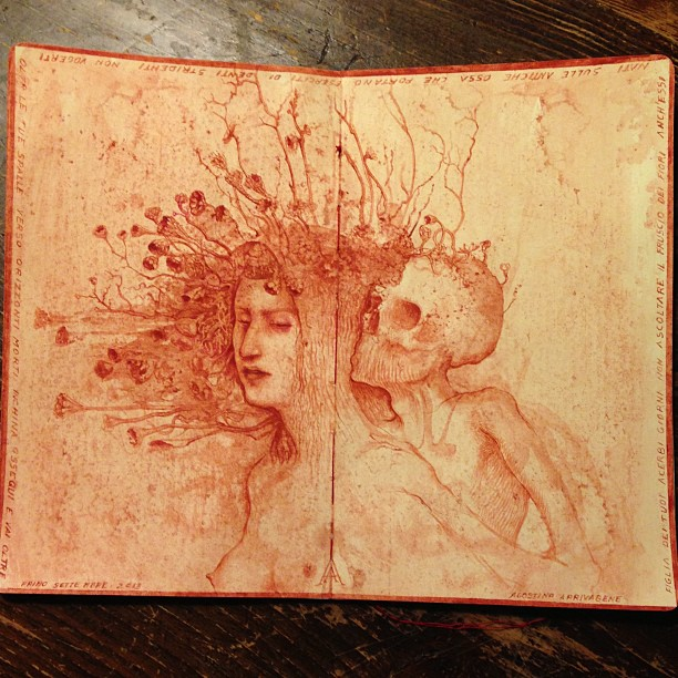 agostino arrivabene- Eserciti di denti stridenti 2013 watercolour on moleskine paper