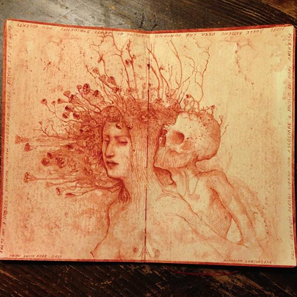 agostino arrivabene- Eserciti di denti stridenti 2013 watercolour on moleskine paper
